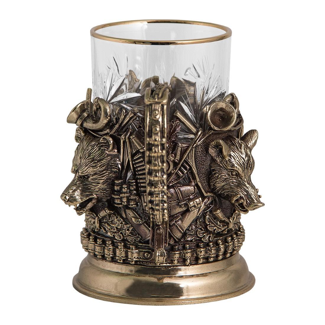 Подстаканник на тему охоты в наборе со стаканом и ложкой «Охота. Трофеи»