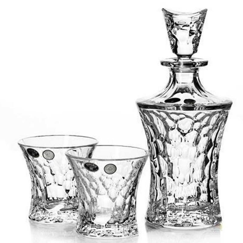 Хрустальный набор для виски Crystal Bohemia, штоф и 2 бокала, арт.687