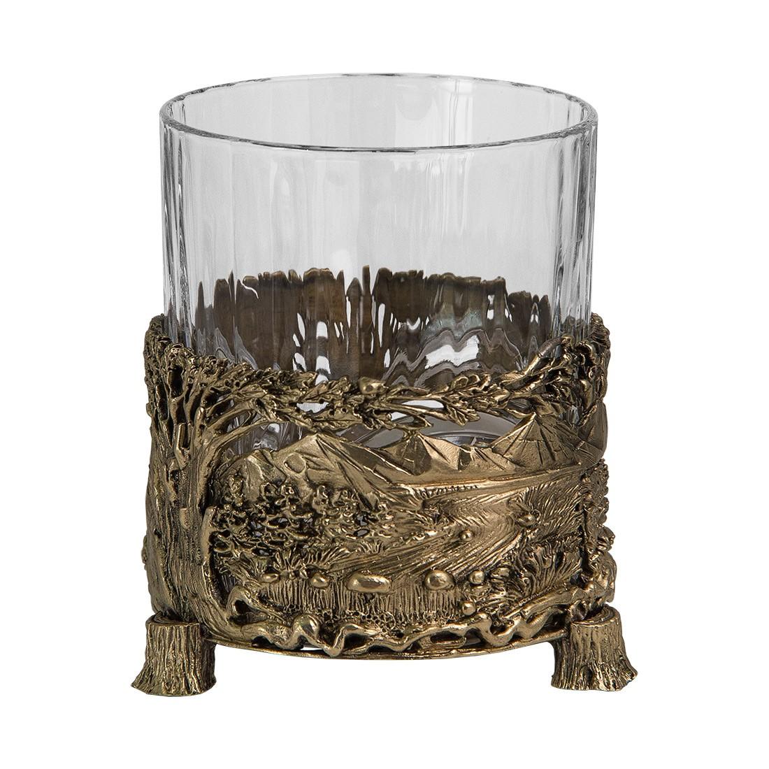 Бокал для виски «Медведь» с камнями в деревянном футляре
