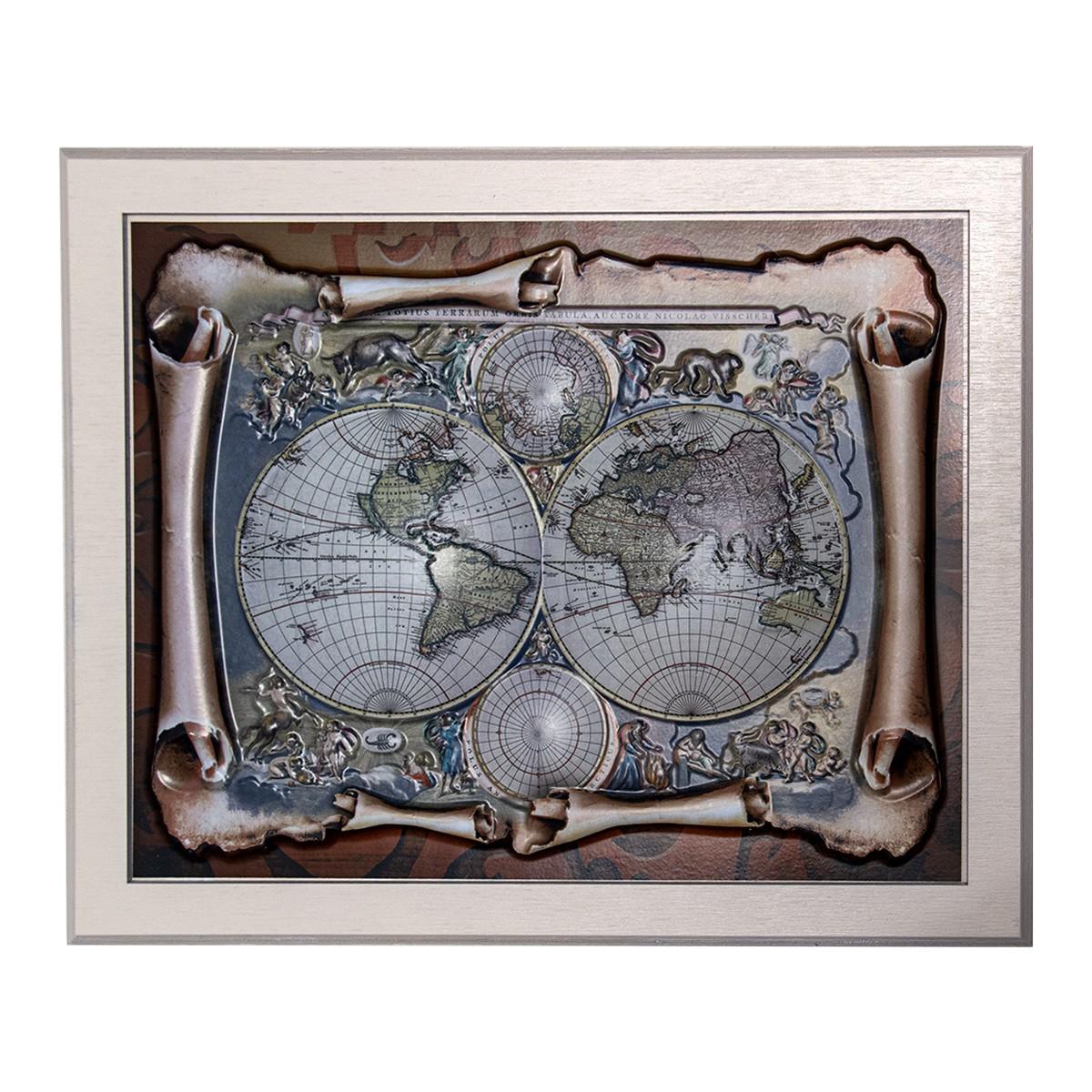 Ключница настенная «Карта Мира»