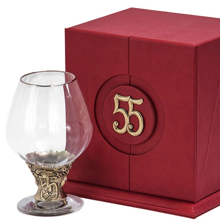 Бокал для бренди с юбилеем «55 лет» + в подарок открытка с DVD-диском «Ты родился!»